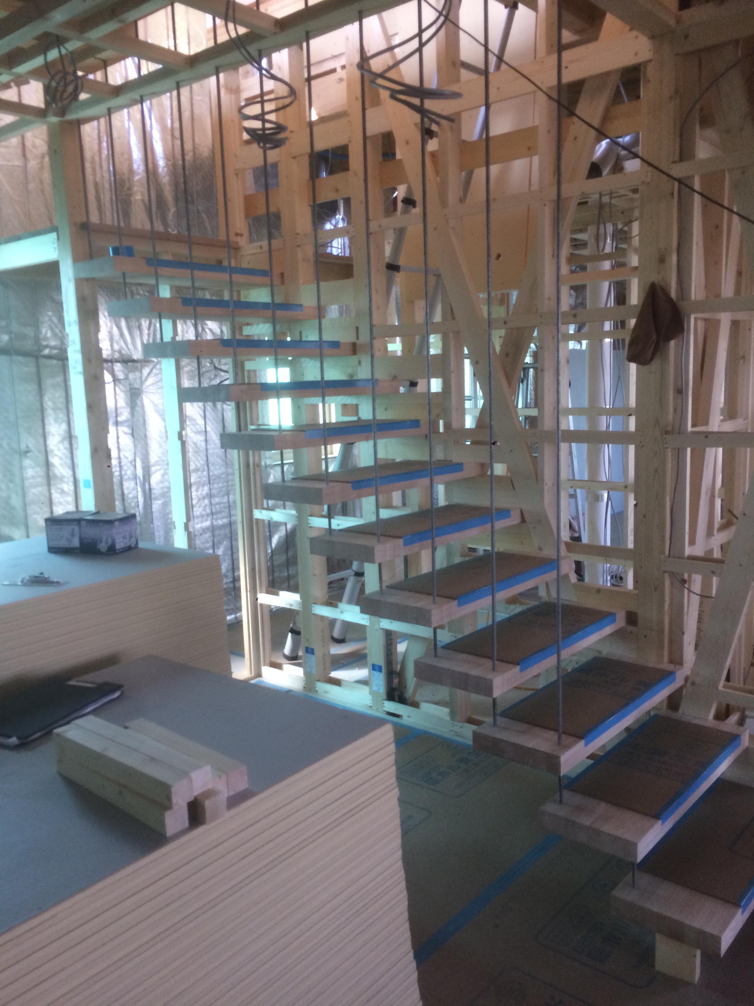 江別 事務所兼住宅新築 ⑥PB荒張 階段工事